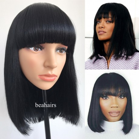 Brazilian Yaki Machine Made Glueless Short Bob with Bangs--[MM001]
