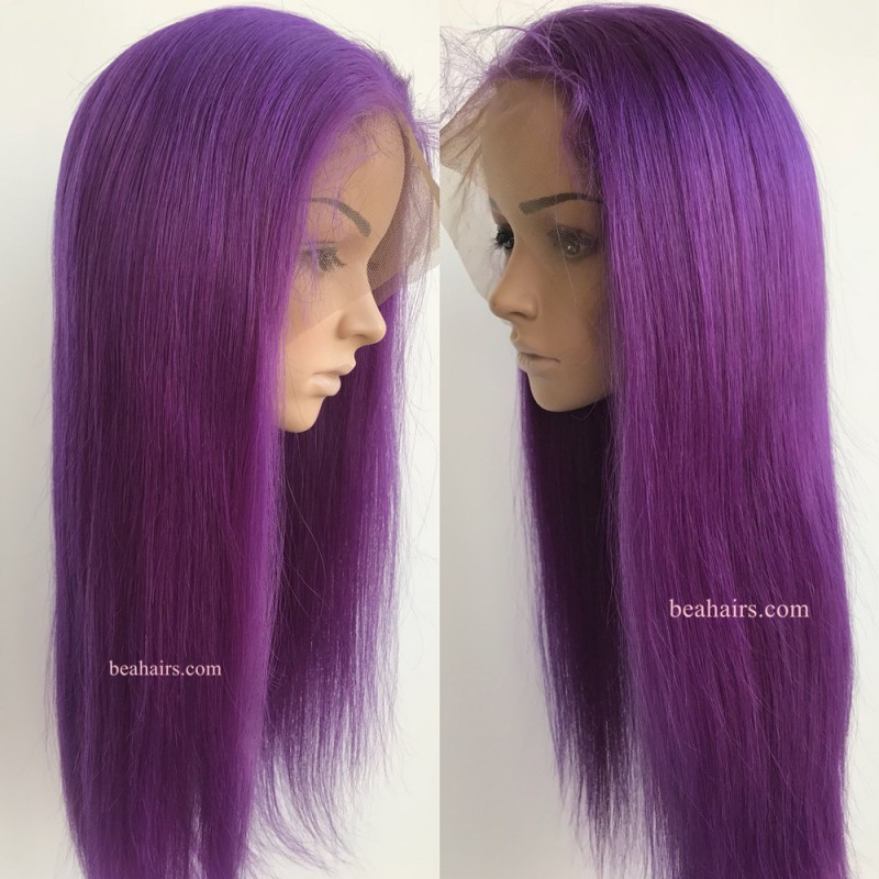 Brazilian Virgin Silk Straight Purple Color 360 Frontal Lace Wig Ht700