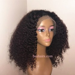 Brazilian virgin Jerry Curl glueless lace front wig---[JC888]