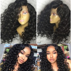 Pre-plucked Brazilian virgin BeachWave 360 frontal lace full wig-[HY262]