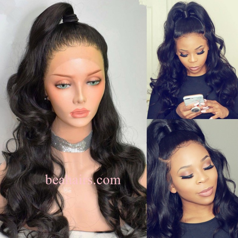 Pre Plucked Brazilian Virgin Body Wave 360 Frontal Lace Full Wig
