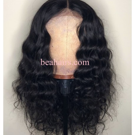 Flash sale--Pre plucked Brazilian virgin natural wave 360 frontal lace full wig-[HT989]