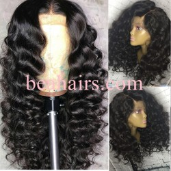 Pre-plucked Brazilian virgin Beach Wave 360 frontal lace full wig-[HY262]