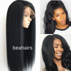 Brazilian virgin kinky straight glueless full lace silk top wig-[KS111]