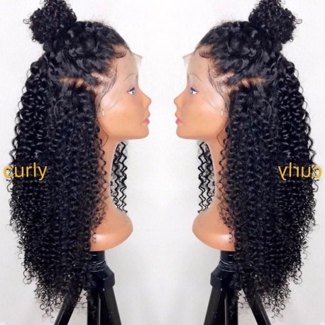 Malaysian virgin kinky Curl glueless lace front wig---[LA008]