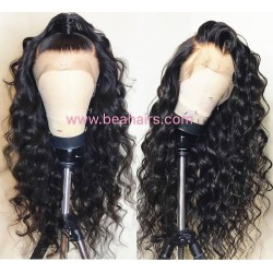 Pre plucked Brazilian virgin human hair Beyonce wave 360 frontal lace full wig-[HT988]