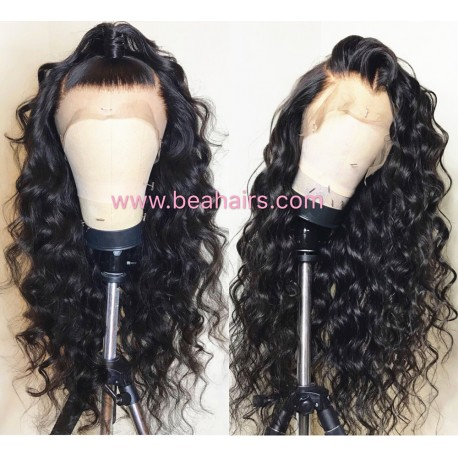 Pre plucked Brazilian virgin Beyonce wave 360 frontal lace full wig-[HT988]