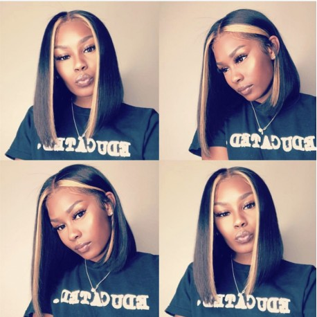 Middle parting 2*4 lace closure bob with highlights-- [BEA004]