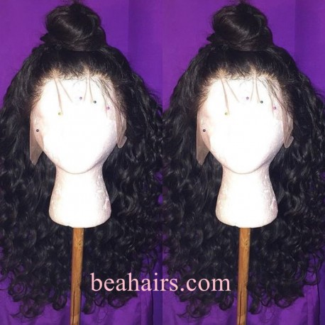 Pre-plucked Brazilian virgin Beyonce Curl 360 frontal lace full wig---[HT889]