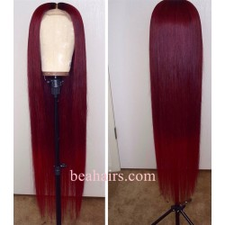 Brazilian virgin silk straight burgundy color 360 frontal lace wig [HT697]