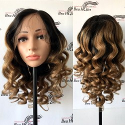Brazilian virgin Light Yaki Loose Wave Ombre stock full lace silk top wig-[LY111]