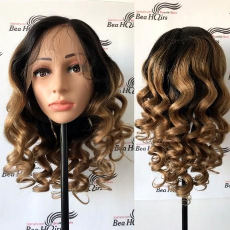 Brazilian virgin Light Yaki Loose Wave Ombre stock full lace silk top wig-[LY111]