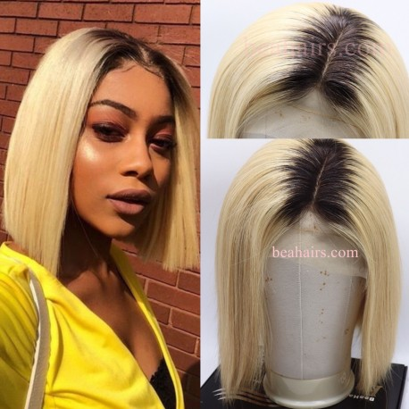 Bonde Ombre Blunt Cut BOB Glueless Full Lace Silk Top Wig--BOB555