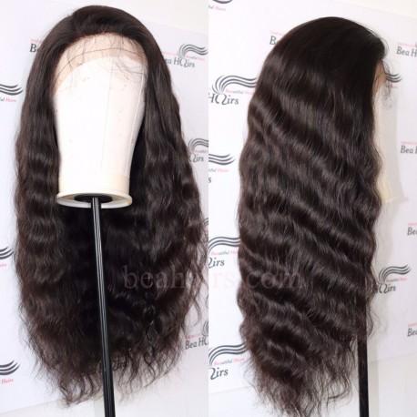 Brazilian virgin natural wave 150% density glueless full lace silk top wig-[BH566]