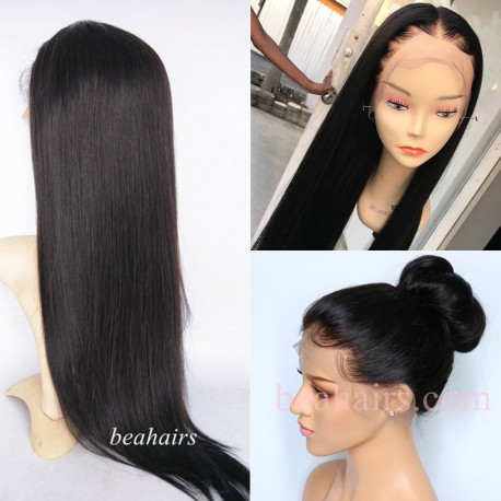 Brazilian virgin silky straight 360 frontal wig with weaves sewn in-[HT888]