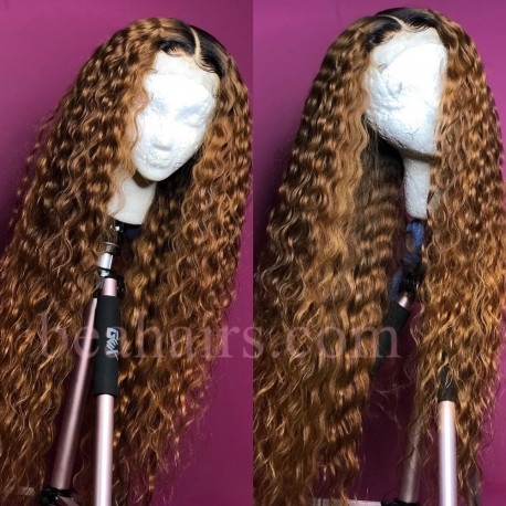 Pre-plucked Brazilian virgin WET WAVE human hair 360 frontal lace full wig---[WW656]
