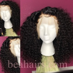 Pre-plucked Brazilian virgin human hair beach curl 360 frontal lace wig-[HT210]