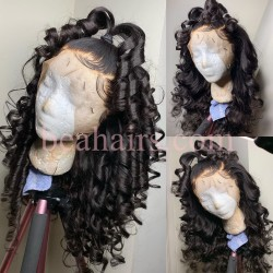 Pre-plucked Brazilian virgin human hair Wand Wave 360 frontal lace wig-[HT211]