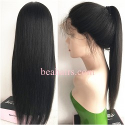 Glueless lace front wig-Brazilian virgin light yaki--LA002