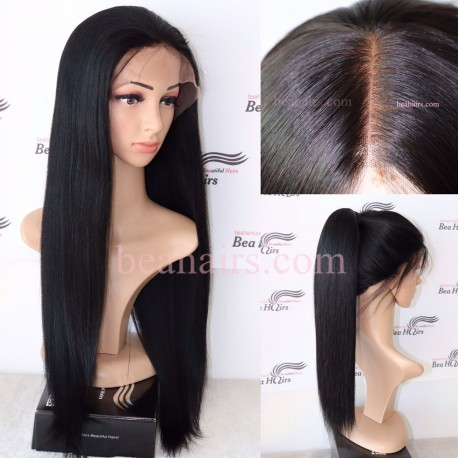 chinese virgin yaki straight full lace wig--in stock--LY002