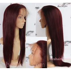 Brazilian virgin silk straight burgundy 360 frontal lace wig [HT699]