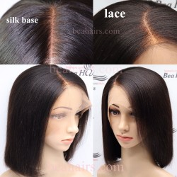 Pre plucked--Brazilian virgin light yaki 360 lace BOB wig [HT799]