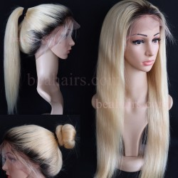 Pre-plucked Brazilian virgin ombre color human hair lace front wig---[HT613]