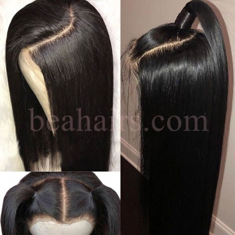 Brazilian virgin natural color silk straight 130% density full lace wig-bh003