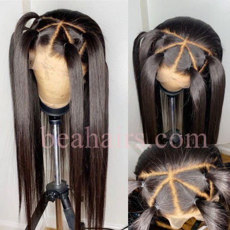 Stock indian remy natural straight full lace silk top wig-[NS001]