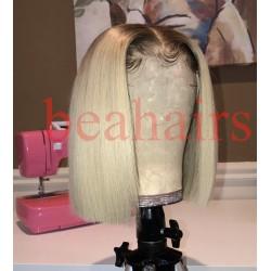 Summer brazilian virgin blonde color blunt cut glueless lace front BOB--BHS001