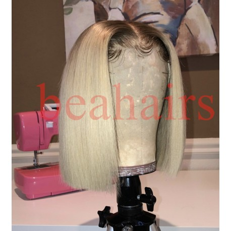 Summer blonde color blunt cut bob--HB001