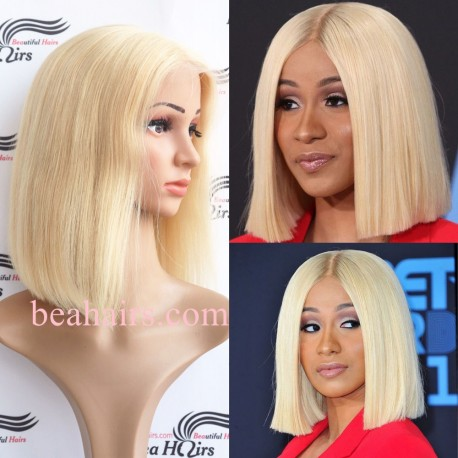 Summer brazilian virgin blonde color blunt cut glueless lace front BOB--BHS002