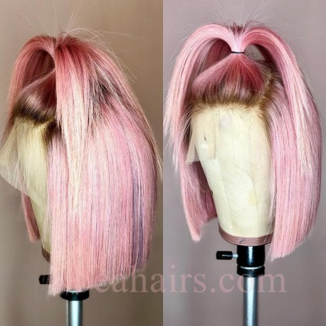 Summer brazilian virgin pink color blunt cut glueless lace front BOB--BHS003