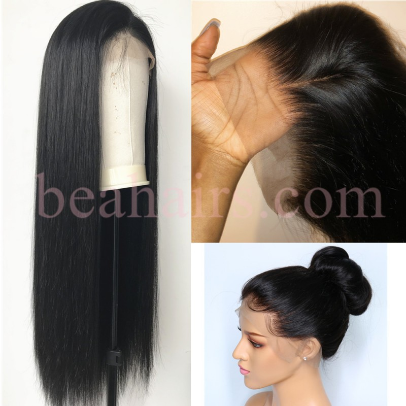 141f289954e Pre-plucked Brazilian virgin silky straight human hair 360 frontal lace  full wig---[HT888]