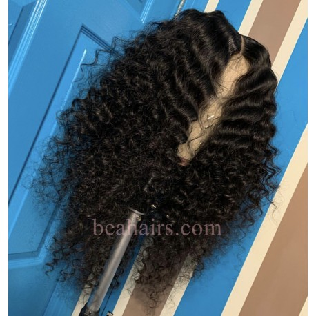50% off--pre plucked Brazilian virgin middle parting natural wave 360 frontal lace full wig-[HT333]