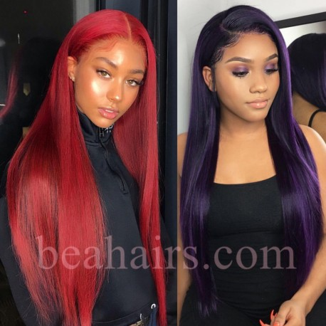 Brazilian virgin blue color human hair silk straight lace front wig