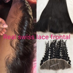 Real Swiss Lace brazilian human hair HD lace frontal --RSL892