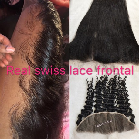 Real Swiss Lace brazilian human hair frontal with fake scalp--RSL892