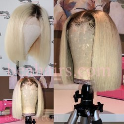 Summer brazilian virgin blonde color blunt cut glueless lace front BOB--BHS001