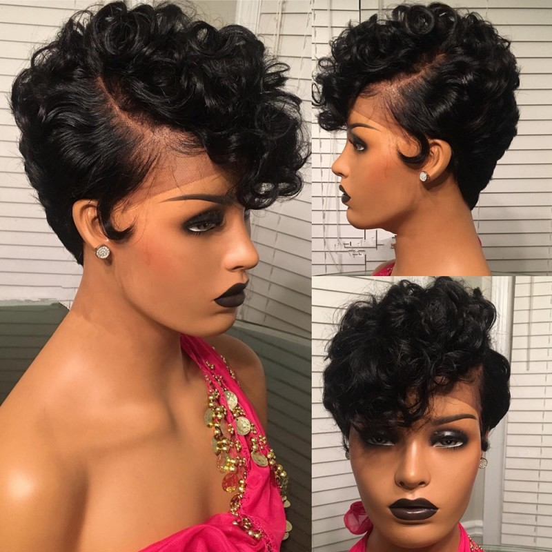6 inch lace parting short pixie cut wig for
