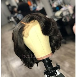 "Pre plucked Brazilian virgin messy wave 6"" lace front bob-[BW002]"