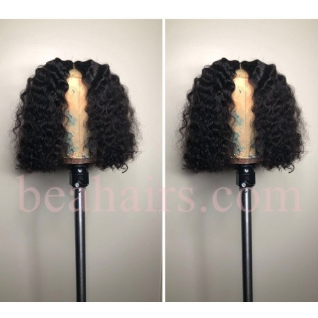 "Pre plucked Brazilian virgin deep wave 6"" lace front bob-[BW003]"