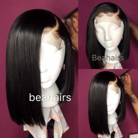"Pre plucked Brazilian virgin silk straight 6"" lace side parting bob-[SPB001]"