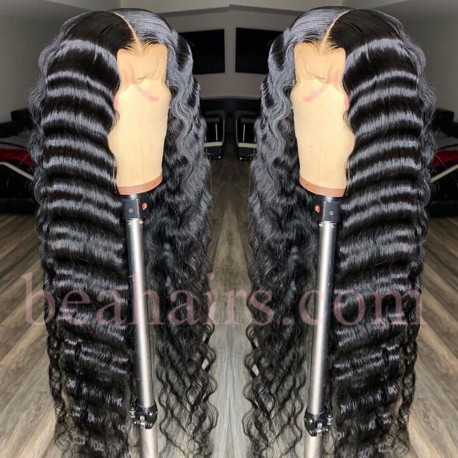 On sale--pre plucked Brazilian virgin natural wave 360 frontal lace full wig-[NW666]
