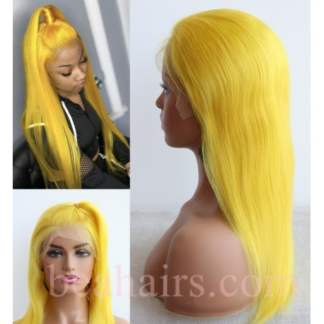 Brazilian virgin lemon color silk straight lace front wig-[LA357]