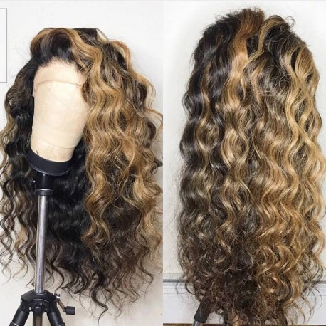 On sale--pre plucked Brazilian virgin Blonde Beyonce wave 360 frontal lace full wig-[BB988]