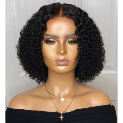 Pre-plucked bleached knots lace front daily curly bob--[FB002]