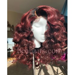 pre plucked Brazilian virgin Red Wine tight wave 360 frontal lace full wig-[BB568]