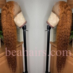 Pre-plucked Brazilian virgin orange water wave 360 frontal lace full wig---[BB569]