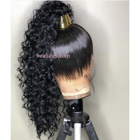 On sale--pre plucked Brazilian virgin human hair Beyonce Curl 360 frontal lace full wig-[HT789]